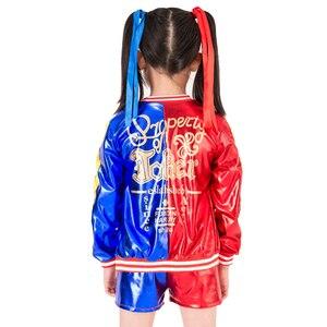 Image 2 - ใหม่เด็กฮาโลวีนชุดคอสเพลย์หญิงเสื้อผ้าเด็กเสื้อแจ็คเก็ตคอสเพลย์ชุด3ชิ้นเสื้อแจ็คเก็ต + เสื้อ + กางเกงขาสั้น