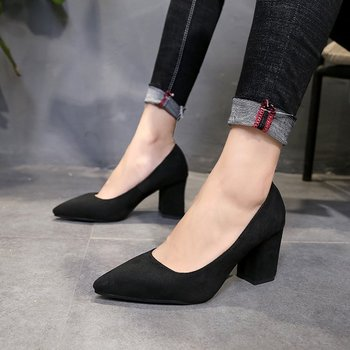 2018 new large size women's shoes thick with fashion pointed high heels suede shallow mouth women's single shoes Pumps