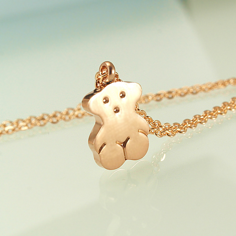 Stainless steel bear pendants necklaces for women 39 s 18k for Jh jewelry guarantee 2 years