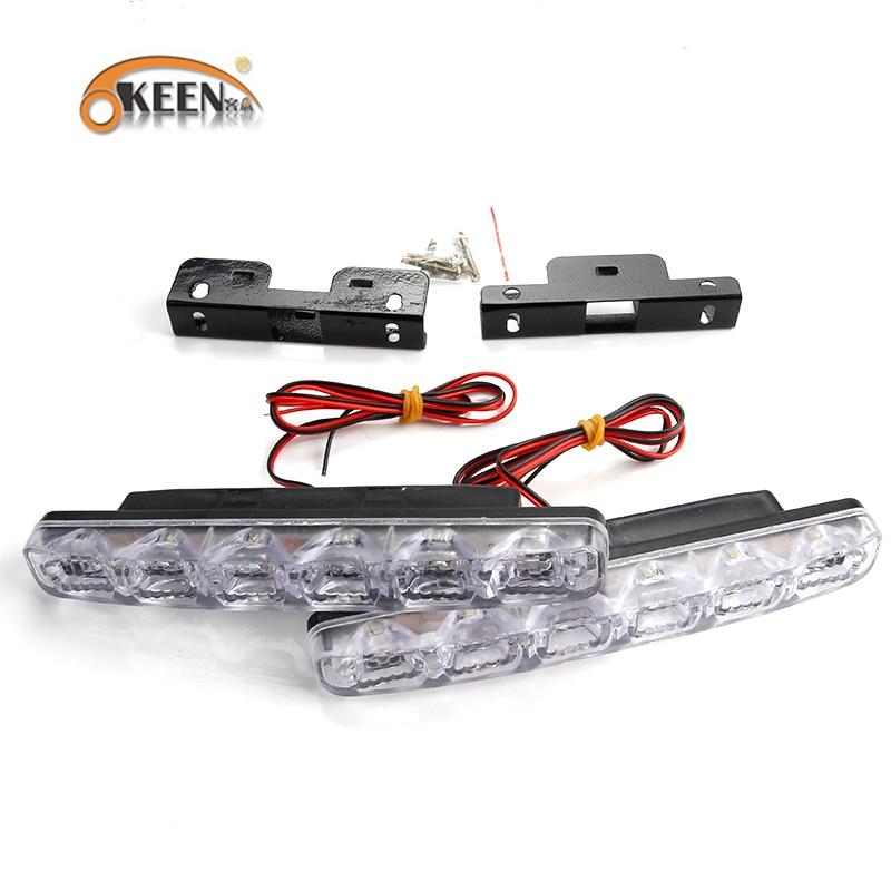 OKEEN 2PCS Kereta LED Daytime Running Lights DRL 6 LED DC12V 6000K - Lampu kereta - Foto 5