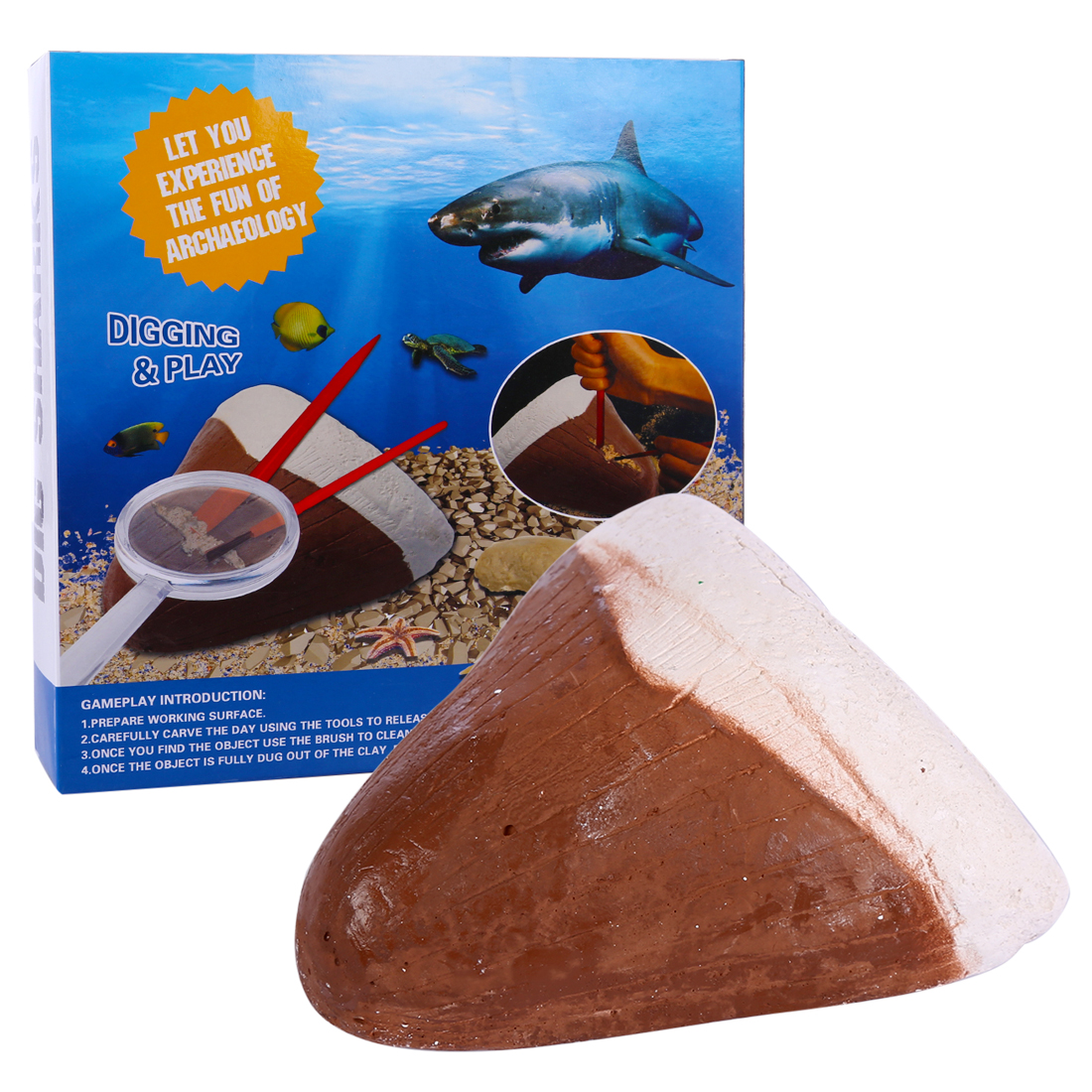 Rowsfire 1 Pcs DIY Science Children Shark Fossil Archaeology Excavation Toys Science Tools For Kids Interest Gift High Quality