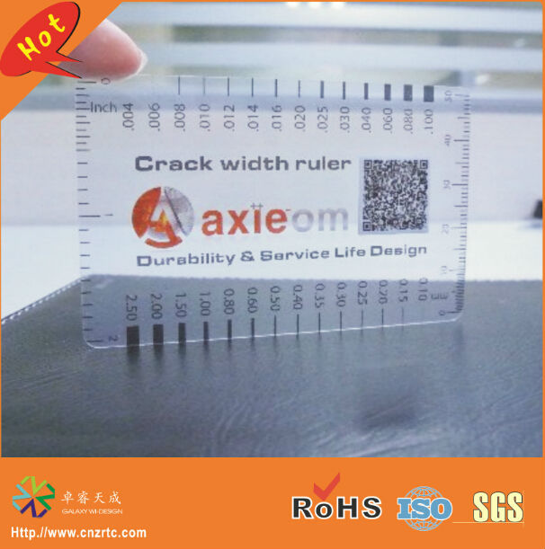 CR80 0.3mm thickness thin PVC transparent card plastic clear rular