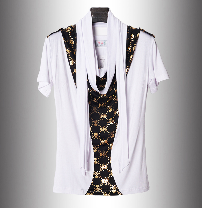 2016 nyáron nem általános új sál gallér koponya Hip Hop póló férfi márka divat koreai stílus póló alkalmi luxus póló