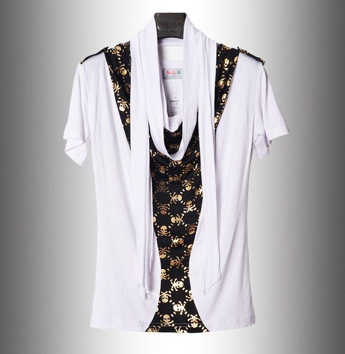 4d70bb04ee16b 2016 Yaz Olmayan Ana Yeni Eşarp Yaka Kafatası Hip Hop T Gömlek Erkekler  Marka Moda Kore Tarzı Tshirt Rahat Lüks T-shirt