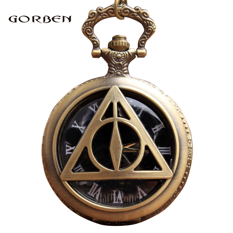 Bronze The Deathly Hallows Lord Voldemort Pocket Retro Quartz Pocket Fob Watch Chain Necklace Pendent Xmas Gift