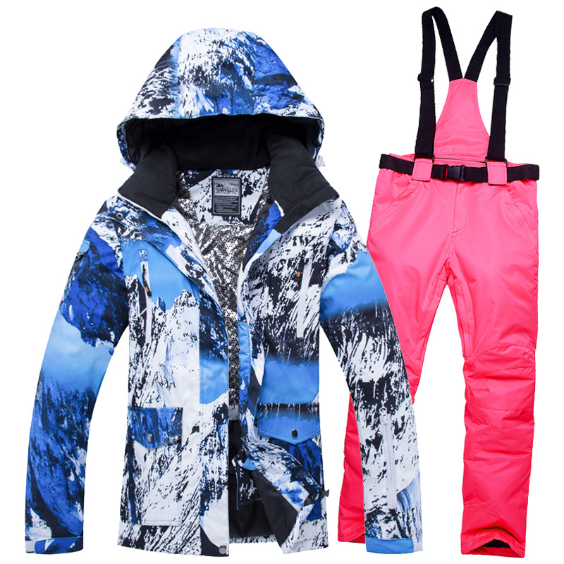 2018 Winter Couple Jacket Men Women Ski Suit Snow Jacket And Pants Windproof Waterproof Colorful Clothes Ski Snowboard Suits pyjtrl m 5xl tide men colorful fashion wedding suits plus size yellow pink green blue purple suits jacket and pants tuxedos