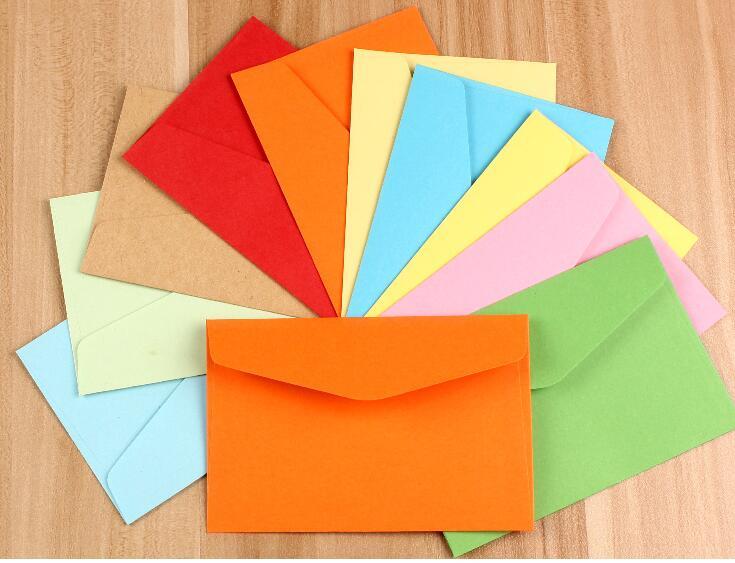 200 Teile/los Candy Papier 5 Farbe Leere Umschläge 220mm Post- & Versandmaterialien 105mm Bank Karte Umschläge Grußkarten Mini Umschläge Mitgliedschaft Karte