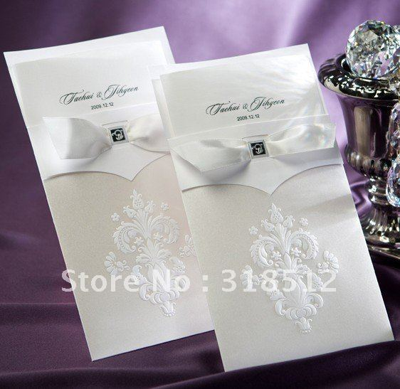 Sample Invitations For Wedding: Elegant Wedding Invitation Sample With Ribbon (Free