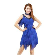 Latin Dance Dress Women Tango Ballroom Salsa Dance Dress Party Costume Dancewear Tassel Strap Dresses