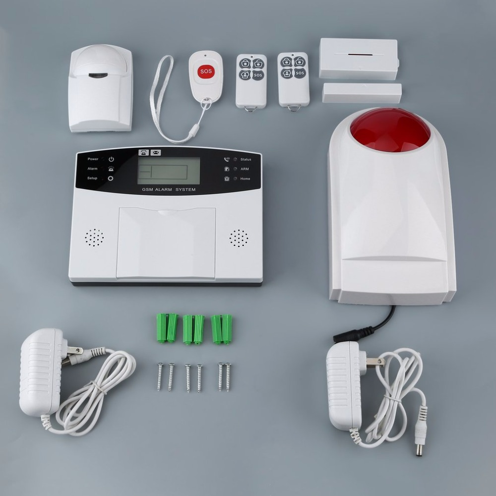 9pcs/set GSM Wireless Smart Voice Anti-theft Alarm System with LCD Display&PIR Sensor&Magnetic Door Detector&Strobe Siren us gsm wireless smart voice anti theft alarm system with lcd display
