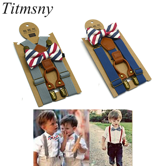 Christmas Bowtie Ties High Elastic Butterfly Knot Kids Baby Boys Toddler Wedding Braces Suspenders Luxury Bow Tie Set