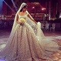 Vestido De Noiva 2015 quadrado colar De luxo Beading apliques Vestido De casamento De trem tribunal igreja De Design Vestido De baile L282