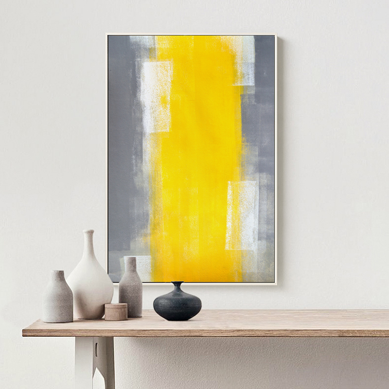 Abstract Paint Yellow Gray and White Canvas Painting Art Print ...
