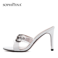 SOPHITINA New Fashion Genuine Leather Ladies Sandals Basic Slip-On Office Shoes Summer Metal High Thin Heel Women PO157