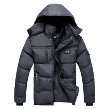 2016 middle-aged men's cotton hooded thick warm autumn and winter long section of business casual jacket Memory Fabric WZ287