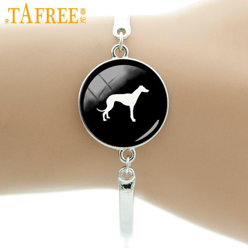 TAFREE Brand Greyhound Dog silhouette art bracelet vintage minimalist Schnauzer prince Welsh Corgi dog lover jewelry women T413