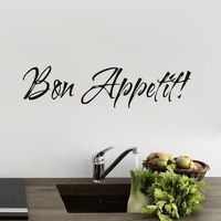 Bon Appetit Quote Wall Decals For Kitchen Dining Room Removable Vinyl Wall Sticker Custom Color Available