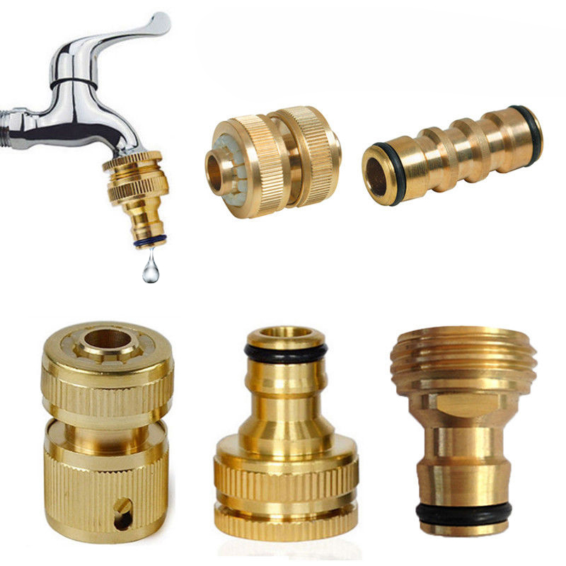 2019 New High Quality 16mm Threaded Brass Hose Garden Water Pipe Adaptor Quick Connector Tap Watering Equipment 10 Types