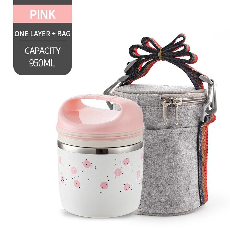 Милые детские Термальность Коробки для обедов герметичность Нержавеющая сталь Bento box для детей Портативный Пикник школа Еда контейнер Box - Цвет: NO. Pink 1 With Bag