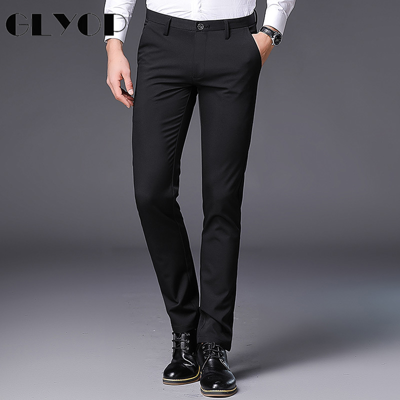 GLYOP Brand 2018 Pants Men Smart Casual Business Mens Pant Straight Full Length Mid-waist Trousers Men Big Size Pantalon Homme