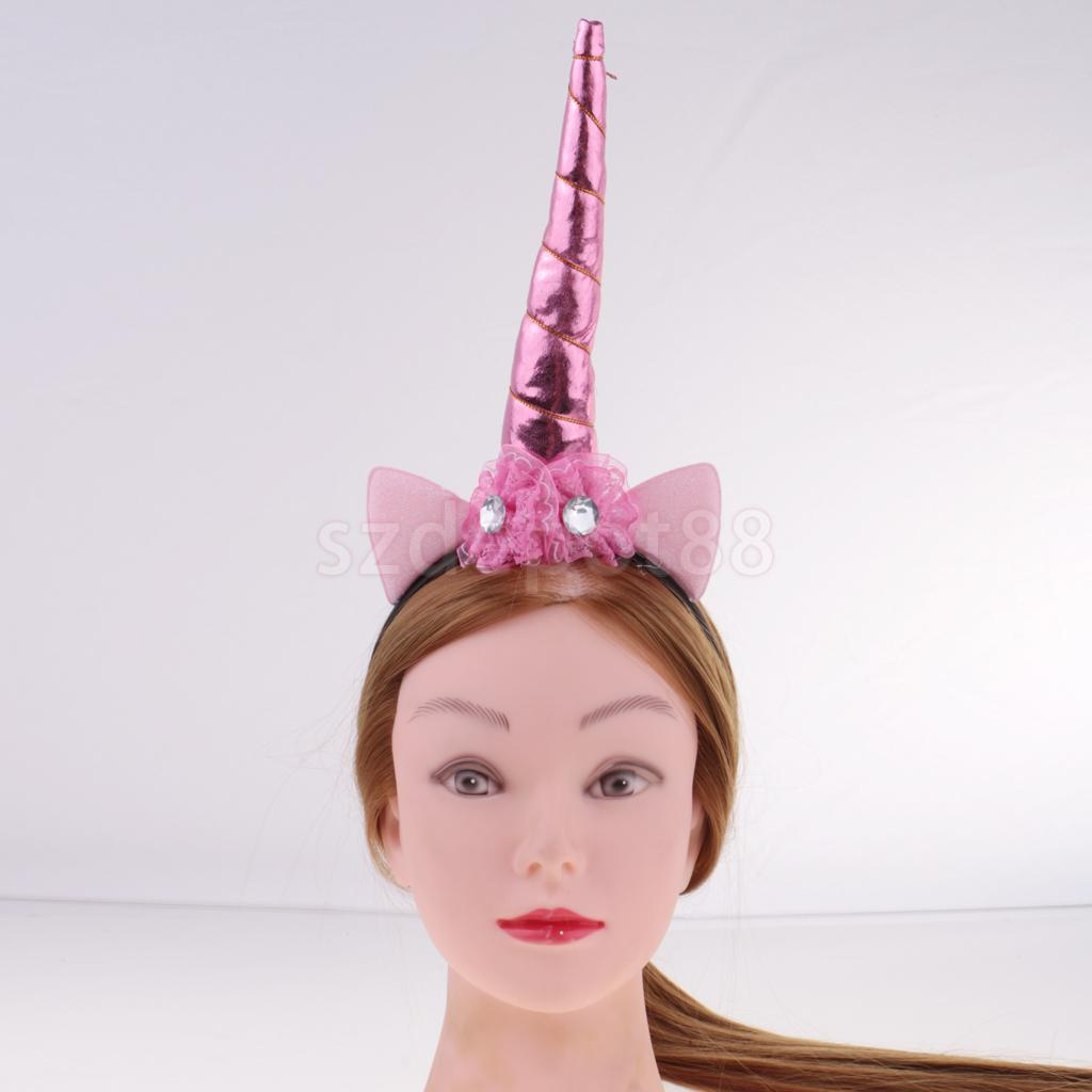 Girls' Pink Fantasy Unicorn Horn Headband Flower Headpiece Fancy Dress Costume