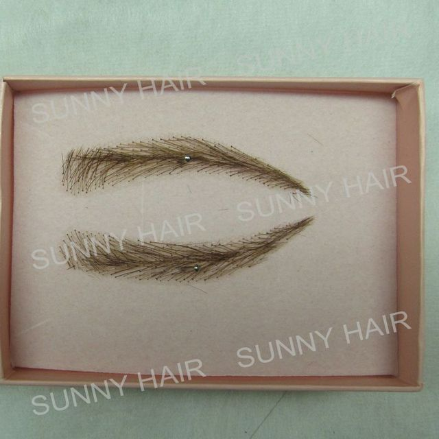 EB013 invisible swiss lace relastic hand made human hair false eyebrow dark brown 2# color 2