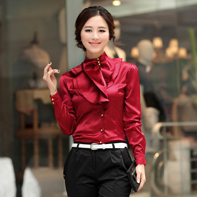c1c5d68c399 4 Color Silk blouse Puls Size Satin Blouse women Fashion Women Office Blouse  Long Sleeve Shirt