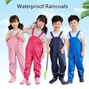 Image 1 - גשם מכנסיים ילדים PU תינוקת כולל עמיד למים בני מכנסיים צהוב כהה כחול פעוט Romper 2020 Chidlren סרבל 1 10 שנים