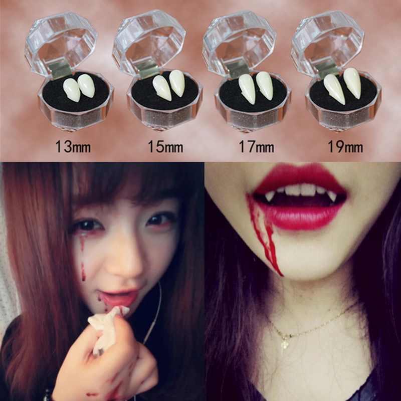 HOTUEEN Halloween Horrific Vampire Fake Teeth with Blood Pellets Cosplay Party Props Costume Makeup