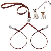Double Dog Leash For Two Small Dogs Puppy Leather NoTangle Dual Leash Coupler Strength Tested For