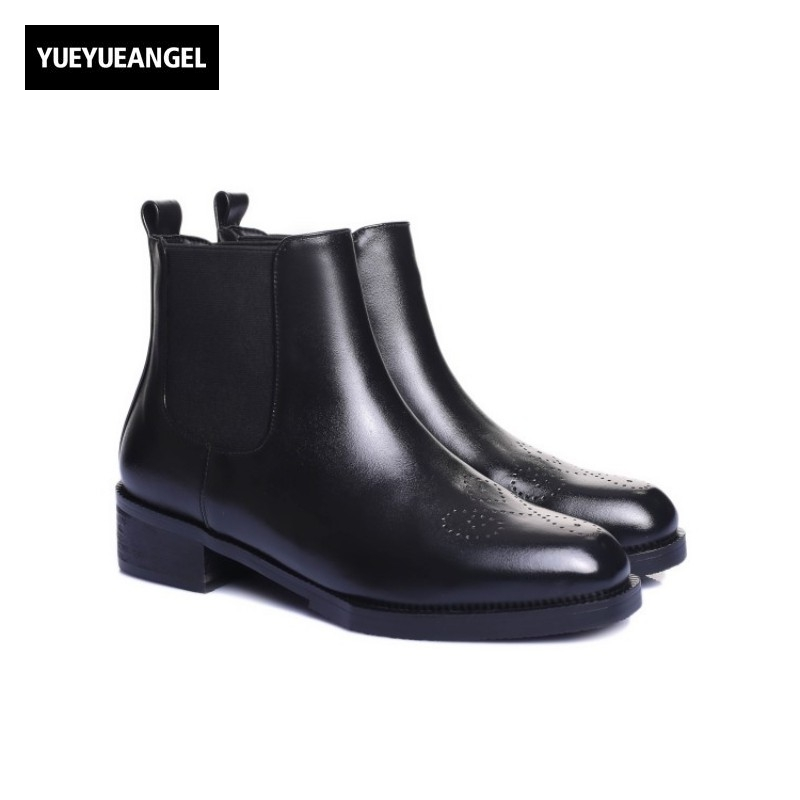 Cow Genuine Leather Chelsea Boots Women Slip On Square Toe Shoes Female Ankle Boots Winter Fashion Shoes Wing Tip Brogue Shoes top quality england style retro mens cow genuine leather brogue shoes male casual shoes lace up round toe breathable wing tip
