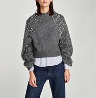 2017 Pearl Beads Lanterns Loose Sleeves Wool Sweater Jumpers Vintage Gray Short Warm Beads Sweater Fall