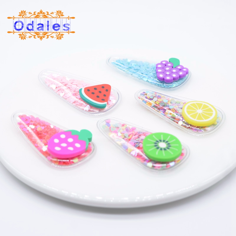 5Pcs Kawaii Barrette Children 39 s Summer Fruit Polymer Clay BB Clip Cover Appliques Sequin BB Clips Accessories Hairpins Hot Sales in Patches from Home amp Garden