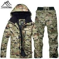 SAENSHING Camouflage Ski Suit Men Waterproof Ski Jacket Snowboard Pant Warm Breathable Snowboarding Suits Outdoor Ski