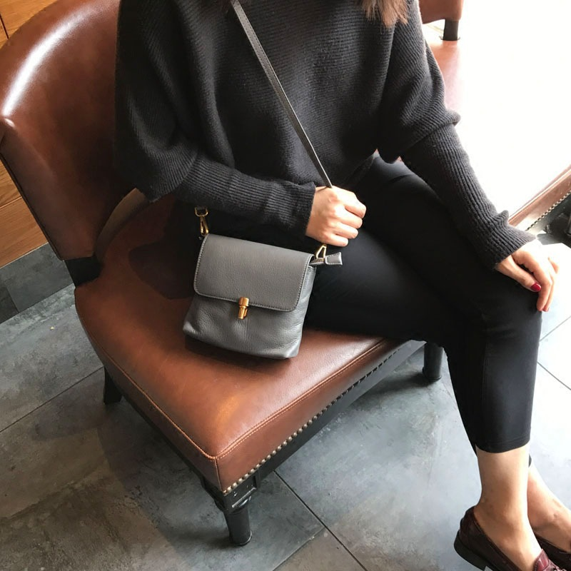 2018 Real Leather Handbag Mini Square All-match Retro All-match Single Chain Cowhide Female Bag Tide Clutch Lady Shoulder Bag thailand tide brand platinum all match female bag stereo flower pearl diamond shoulder bags platinum small bag