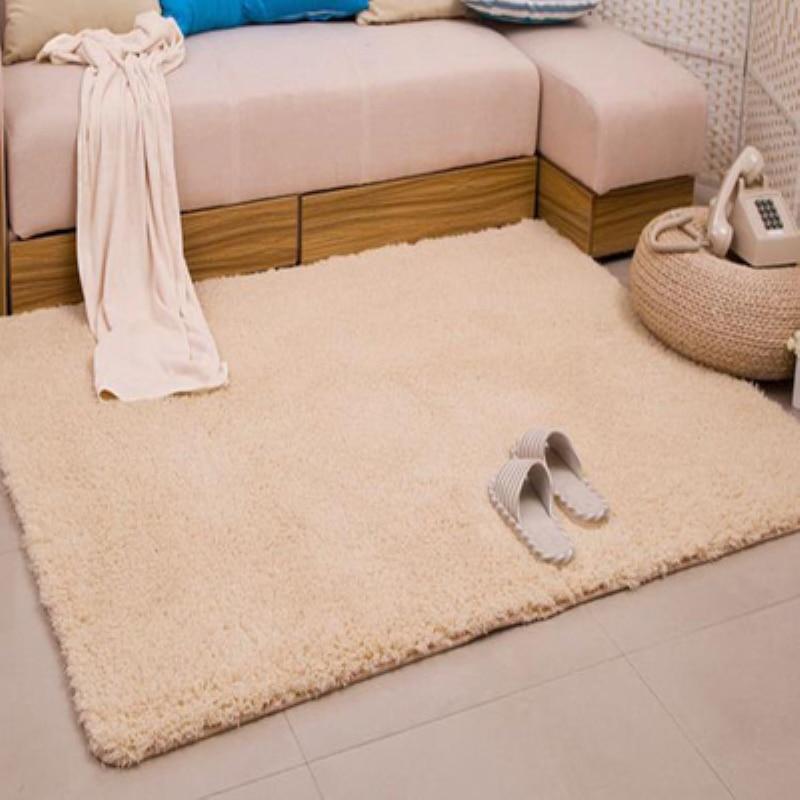 Nouvelle mode Beige moelleux tapis anti-dérapant Shaggy zone salon maison chambre tapis épais corail velours tapis de sol LOSICOE-S10