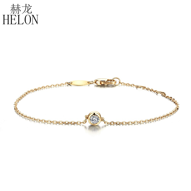 HELON Solid 18K 750 Yellow Gold 0.1ct F Color Lab Grown Moissanite Diamond Bracelet Test Positive For Women Trendy Style Jewelry trendy style solid 14k yellow gold df color moissanite lab grown diamond bracelet charm for women