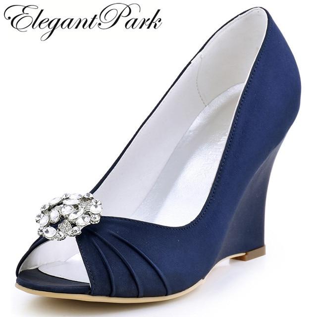 EP2009AM Women Wedges Wedding Bridal Shoes High Heels Navy Blue Peep Toe  Comfort Satin Lady Bride