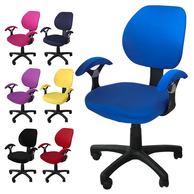 Universal Size 20 Colors Chair Cover Computer Office Printed Armchair Slipcovers Seat Arm Chair Covers Stretch Rotating Lift