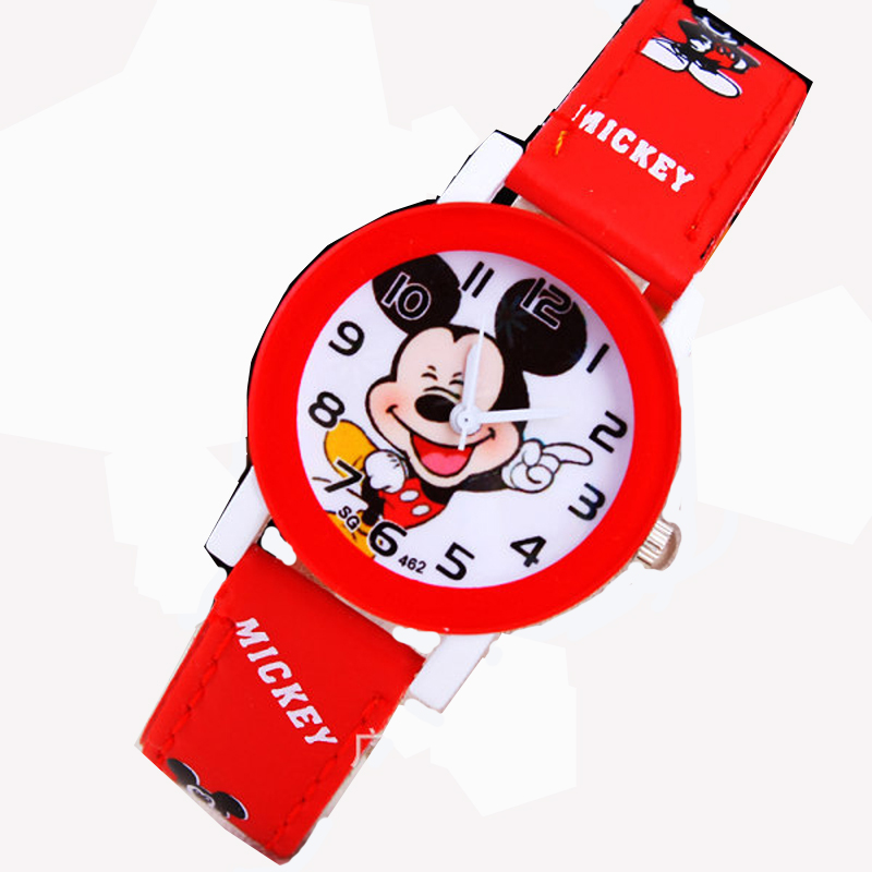 2019 Fashion Cool Mickey Cartoon Watch For Children Girls Leather Digital Watches Kids Boys Studnet Christmas Gift Wristwatch