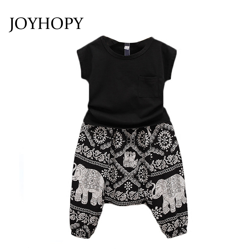 New Summer Style 2016 Baby Girls Outfit Clothes Black T-shirt Tops +Pants Trousers 2PCS Children Kids Girl Clothing Set hot sale 2016 kids boys girls summer tops baby t shirts fashion leaf print sleeveless kniting tee baby clothes children t shirt