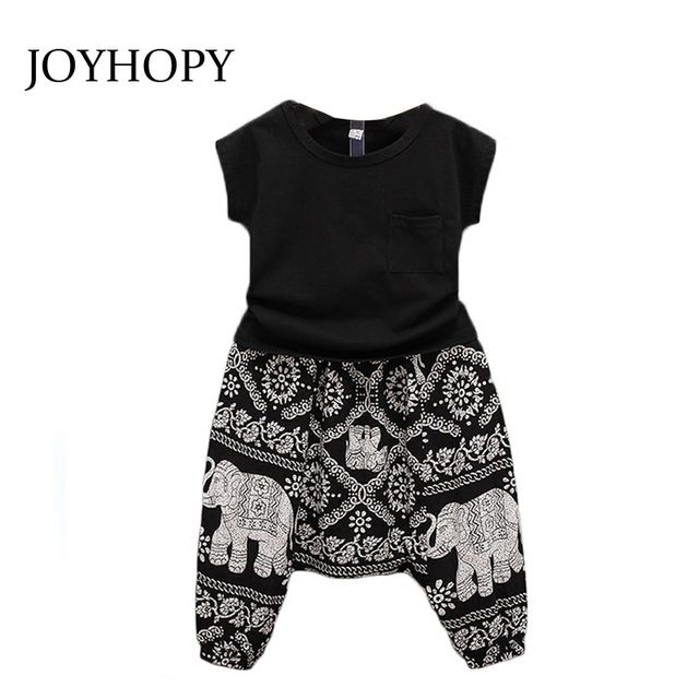 ed0565b4da08 New Summer Style 2016 Baby Girls Outfit Clothes Black T shirt Tops + ...