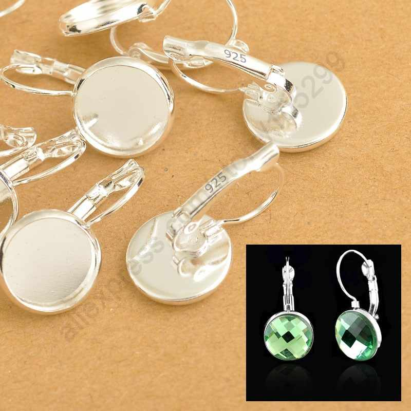 Bulk 8-10-12-14-16-18-20-25MM 925 Sterling Silver Jewelry Findings Flat Cabochon Cameo Settings Earring French Lever Back