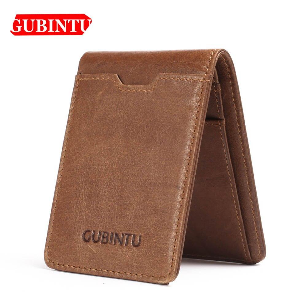 Gubintu Thin Genuine Leather Men Wallets Card Holder Multifunctional Slim Brand Men Purse Business High Quality Men Wallets