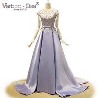 Women Dress Evening Long Elegant 2015 Light Purple Prom Dresses Sexy Backless Bow Pearl Beading Lace