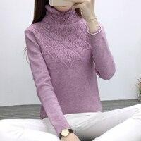 New female Korean long sleeved turtleneck sweater all match sleeve head dress shirt jacket knitted winter cultivation