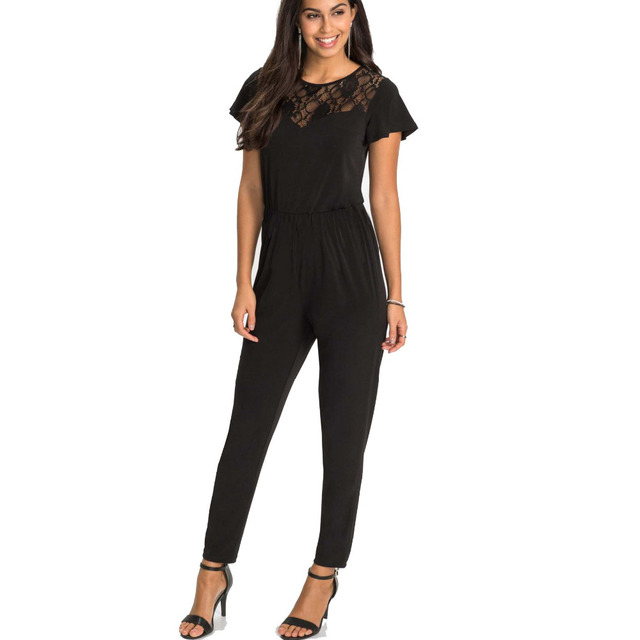 23ee1462252a Sexy short Sleeve jumpsuit women long romper 2018 summer women lady black  trousers beach lace bodysuit coveralls female frock
