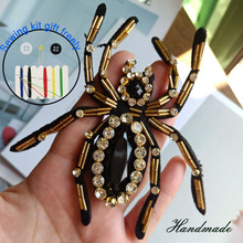 1pc 3D Handmade spider animals beaded Patches for clothing DIY sew on sequin rhinestone parches Beaded appliques hats bags