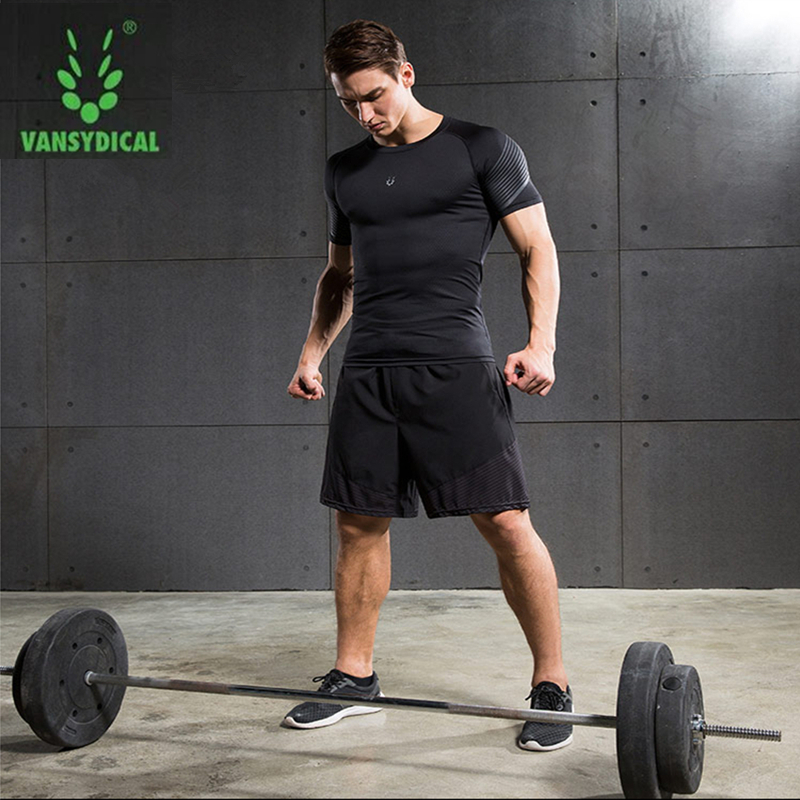 Vansydical Summer Jogging Suits Men's Fitness Sport Suits Quick Dry Basketball Running Shirts+Shorts Sets Gym Sportswear 2pcs 1