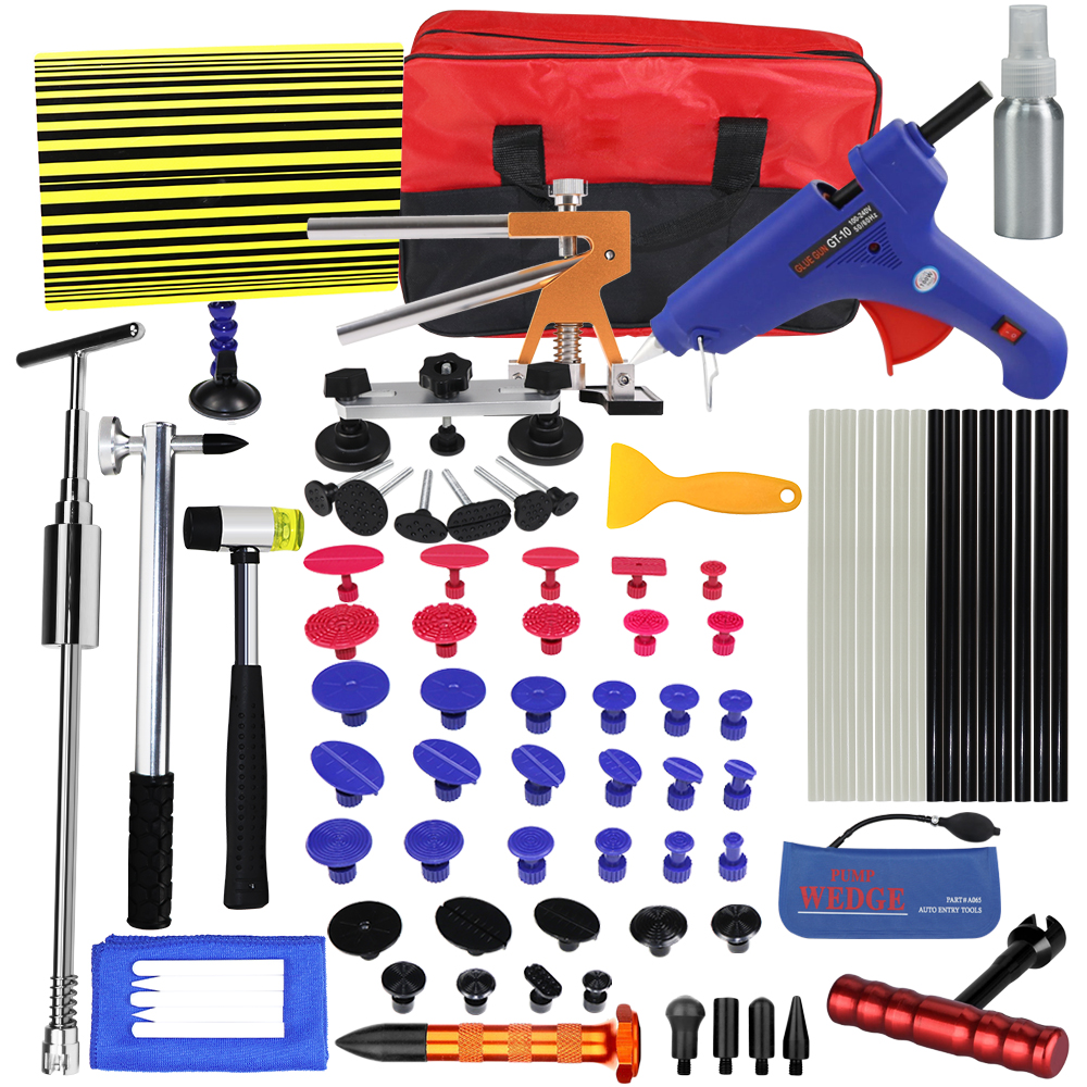 WHDZ PDR Tools Paintless Dent Repair Tools Dent Removal car Kit Reflector Board Dent Puller Glue gun pump wedge Hand Tool Set все цены